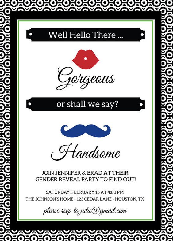 Well Hello There Gorgeous...or shall we say Handsome! Cute lips and mustache themed gender reveal party invitation.