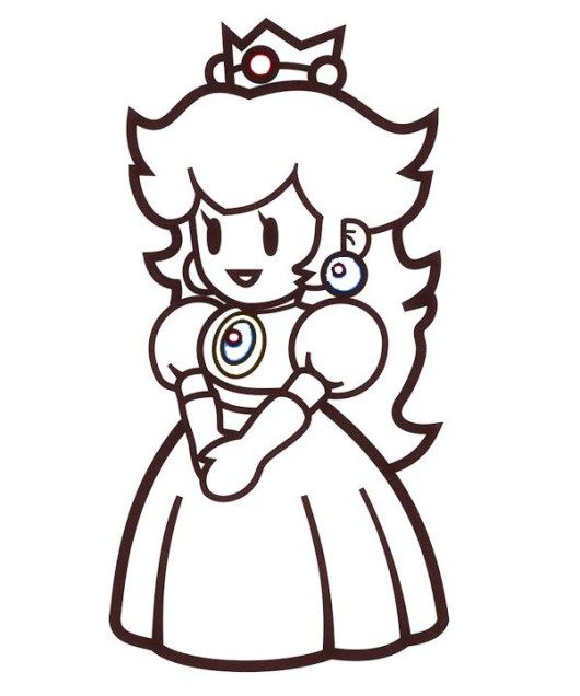 Princess Peach Toadstool Coloring Page Coloring Pages Vinyl Decal Stickers Nintendo Princess