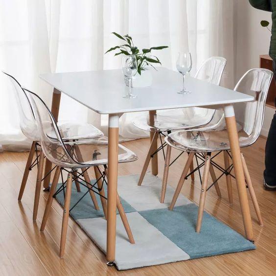 Conjunto Mesa Eames Retangular 1,20m Branca e 4 Cadeiras DSW Incolor
