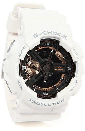 G-Shock Watch 110 in White, Black, & Rose Gold