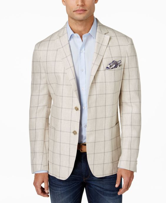 Andrew Marc Heather Gray Linen Wool Blazer Sportcoat With Elbow Patches