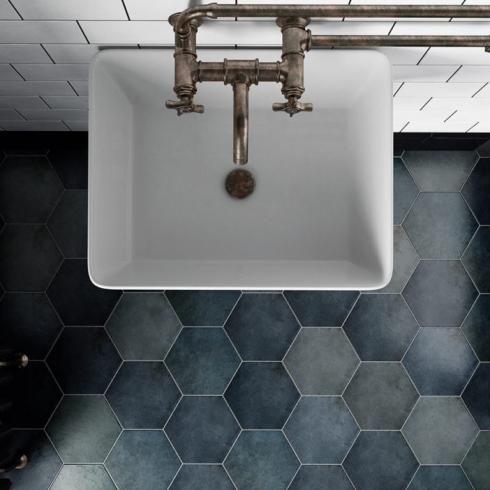 Tuintegels 5 Euro Per M2.Hexagonaal London Mat Blauw Wand En Vloertegel 17 5 X 20 Cm
