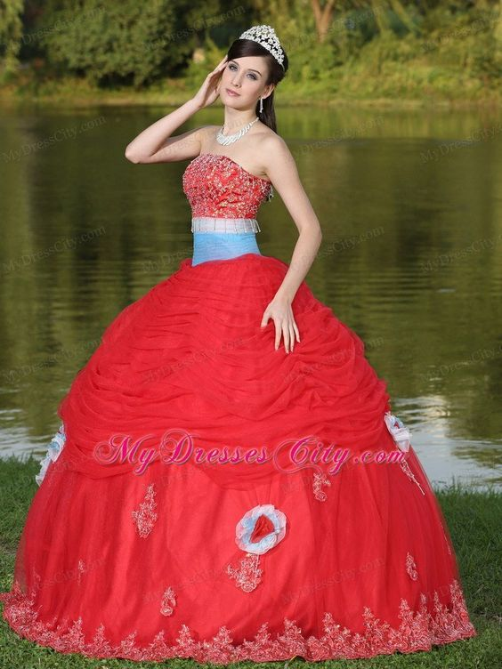 Strapless Ruches Beading Red Sweet 16 Dresses With Flower Decorate
