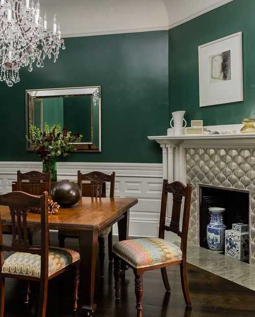 Decorate With Dark Green To Create Cozy Rooms Town Country Living Green Dining Room Green Dining Room Walls Dining Room Victorian