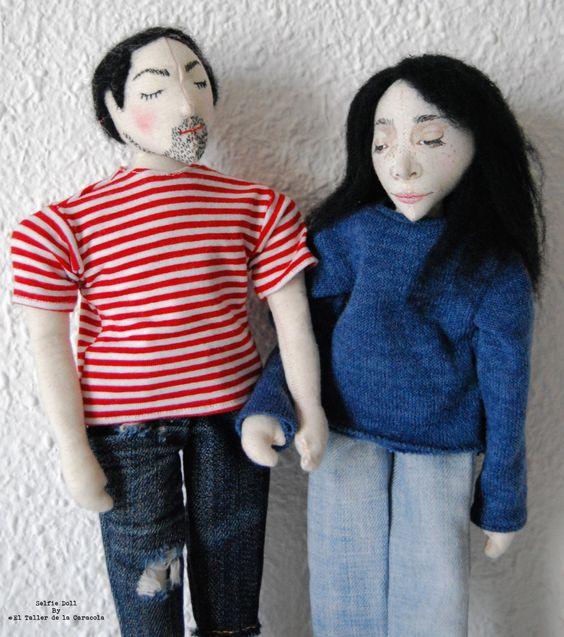 Pareja muñecos retrato - Muñecos personalizados - Muñecos artísticos - Escultura en tela - OOAk - Regalo único de ElTallerdelaCaracola en Etsy