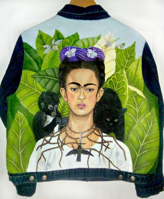 Veste En Jean Avec Portrait De Frida De Peint A La Main En 2020
