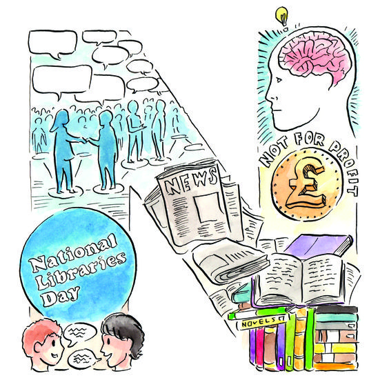 N is for National Libraries Day; networking; new ideas; newspapers; noise (discussion / activity / communication); non-judgemental; not for profit; novels. #LibraryAtoZ