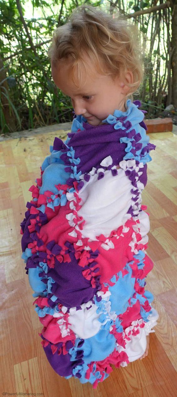no sew fleece blanket :: homemade blanket :: simple patchwork project