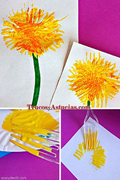 manualidad diente de león para niños, hecha con pintura