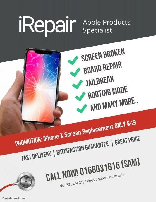 Repair Smartphone Iphone Android Flyer Iphone Repair Cell Phone Repair Shop Smartphone Repair