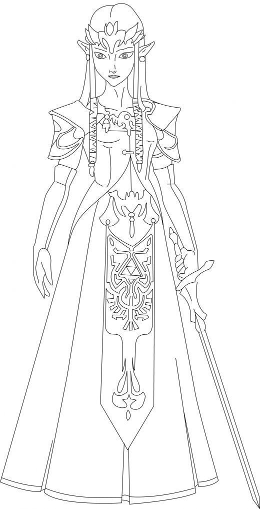 Princess Zelda Coloring Pages : Zelda coloring pages and on pinterest