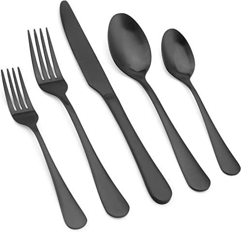 New Vanys Matte Black Silverware Set 20 Piece Stainless Steel