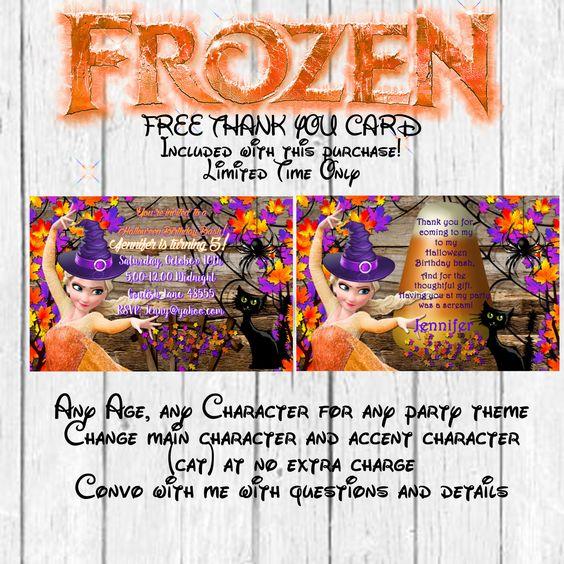 Frozen Halloween Birthday Invitation, Halloween Invitation- Elsa Halloween Invitation-Frozen Halloween Birthday Party-FREE Thank you card by MyPrintablePartyLine on Etsy