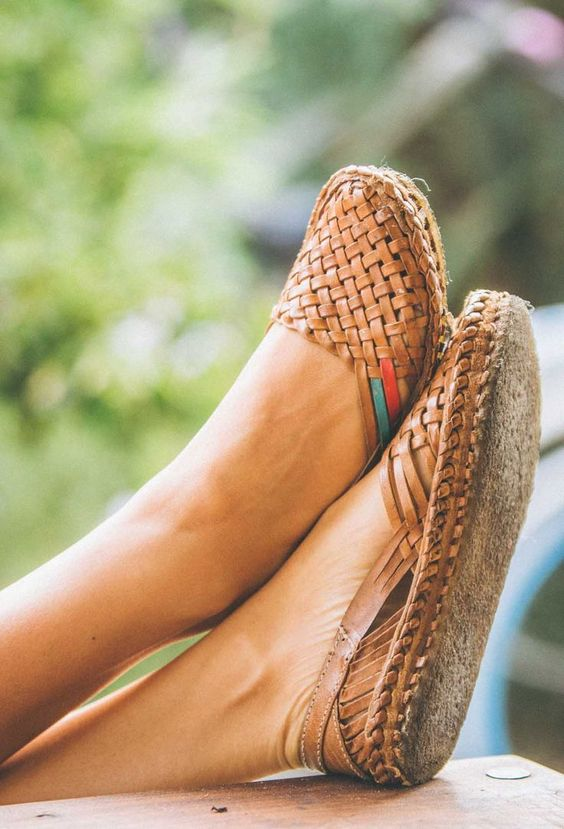 Woven Leather Flats handcrafted in an artisan cooperative in rural India.  $145.00