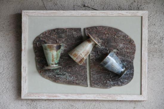 copas de brindis  cerámica,madera torno de alfarero,planchas