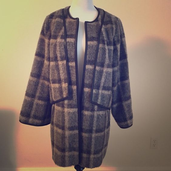 plaid pea coat wool, polyester, mohair. trimmed with leather, lined, two side slit pockets Leith Jackets & Coats Pea Coats
