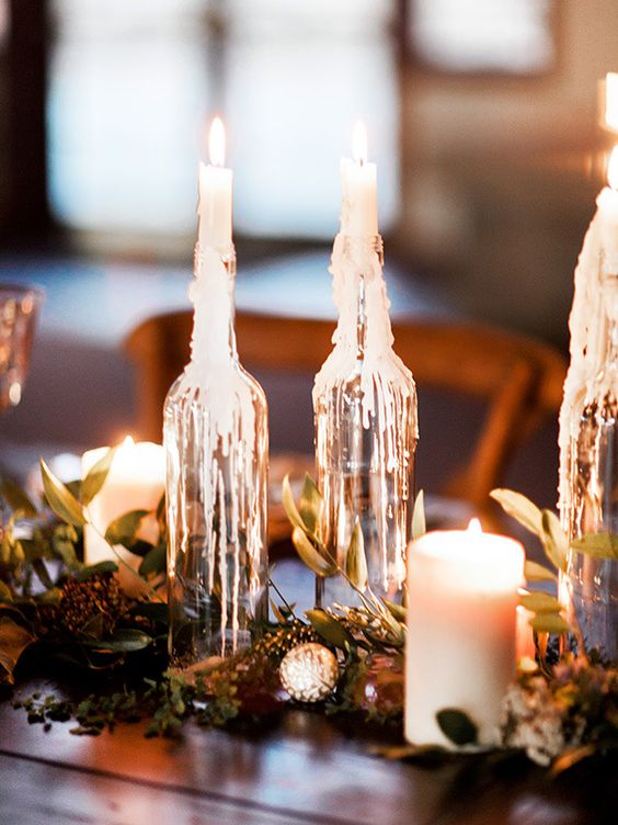 Garland Table Runner of Ferns and Candles | Megan Robinson Photography and Leslie Dawn Events | Candlelight Winter Wedding Ideas in Green and White: