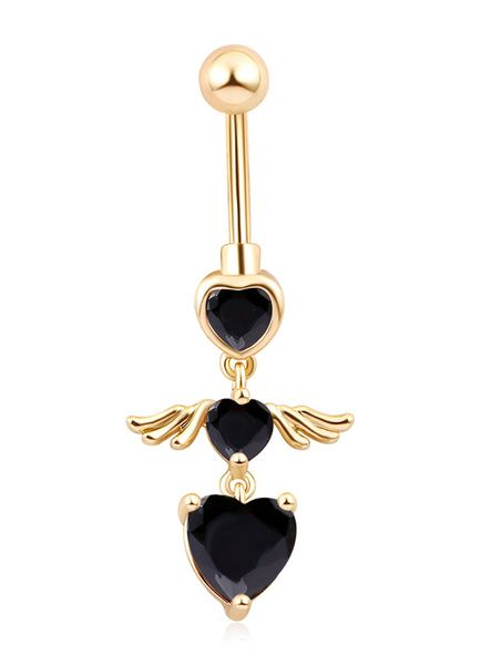 Jeweled Heart in a Heart Pattern Navel Ring Body Jewelry