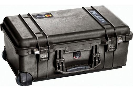 PELICAN CASE 1510 ASST.  FAA MAXIMUM CARRY ON SIZE. Retractable extension handle. Strong polyurethane wheels with stainless steel bearings. Easy open Double Throw latches. Open cell core with solid wall design - strong, light weight. O-ring seal. Automatic Pressure Equalization Valve. Comfortable rubber over-molded top and side handles. Stainless steel hardware and padlock protectors. Pick N Pluck™ with convoluted lid foam.