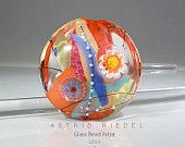 Summer daisies- 37mm Focal bead- lampwork by Astrid