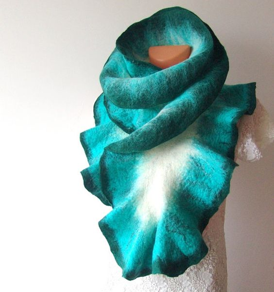 Felted scarf ruffle collar   Teal white turquoise by galafilc, $69.00