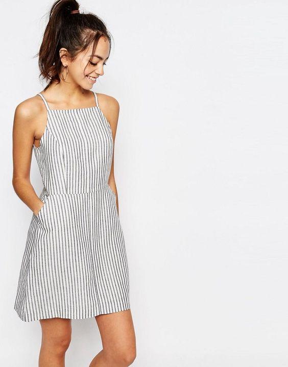 New Look | New Look Stripe Linen Dress at ASOS