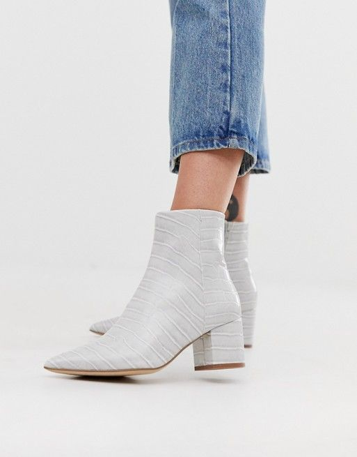 Pointed Block Heeled Boots In Mid Grey Croc Womens Boots Ankle Boots Pointed Block Heel
