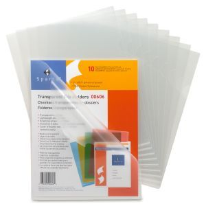 """Sparco Transparent File Holder - Letter - 8.50"""" x 11"""" Sheet Size - 20 Sheet Capacity - Clear - 10/Pack"""