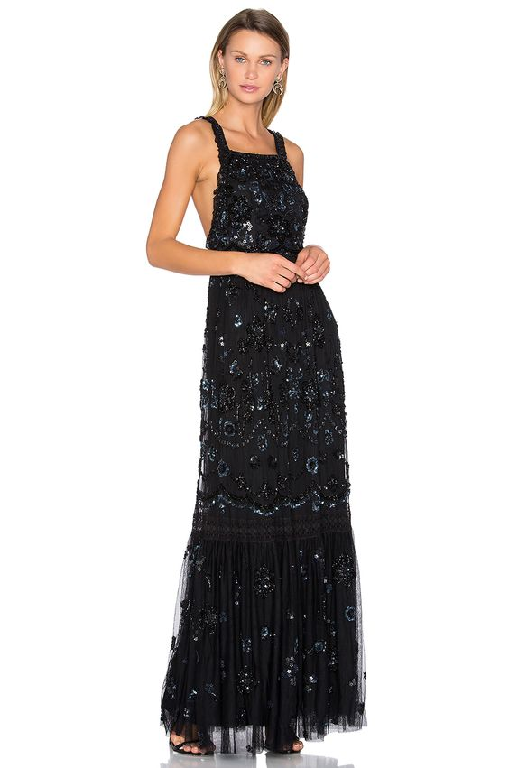 Needle & Thread Embellished Bib Gown in Black
