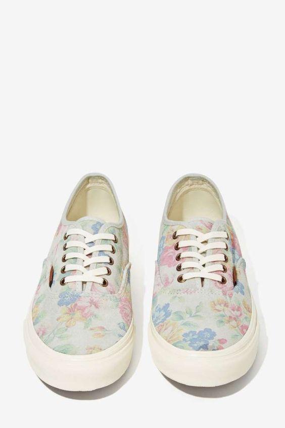Vans Authentic Sneaker - Pale Floral Suede:
