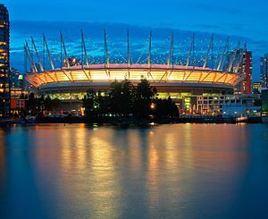 BC PLACE: BC Place is a multi-purpose stadium located at the north side of False Creek, in Vancouver, British Columbia, Canada.    It is the home field for the BC Lions of the Canadian Football League (CFL) and the Vancouver Whitecaps FC of Major League Soccer (MLS).