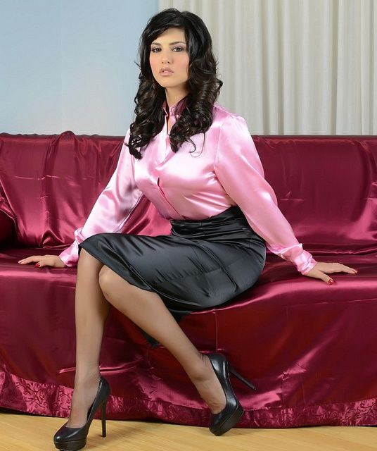 Black Satin Pencil Skirt Pink Satin Blouse Sheer Black Pantyhose and Black Stiletto High Heels