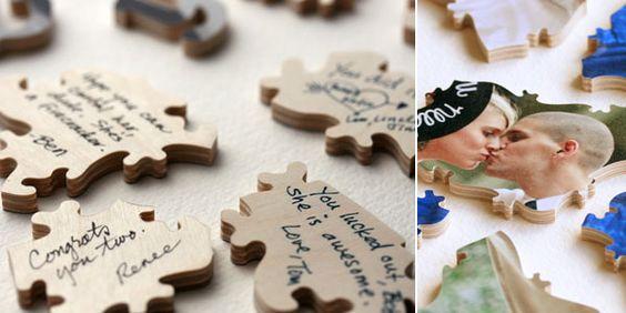 """► Idea para tu libro de visitas. Tome una de tus fotos de compromiso y dividirla en un rompecabezas! Cada huésped puede firmar una pieza del rompecabezas, decir que todos ellos constituyen """"tu"""". #ideasparabodas"""