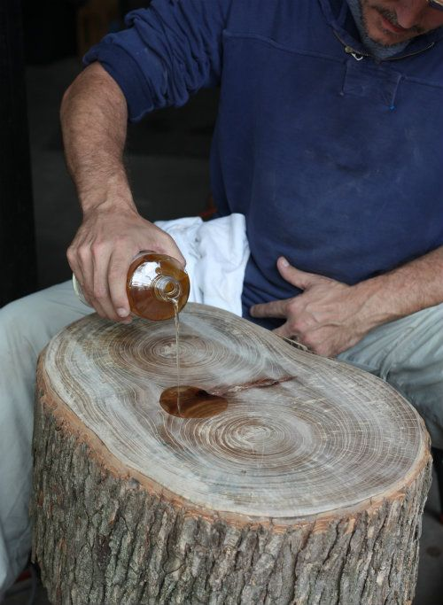 17 Apart: How To: DIY Stump Table        I have to do this with the huge tree stump I've been saving.