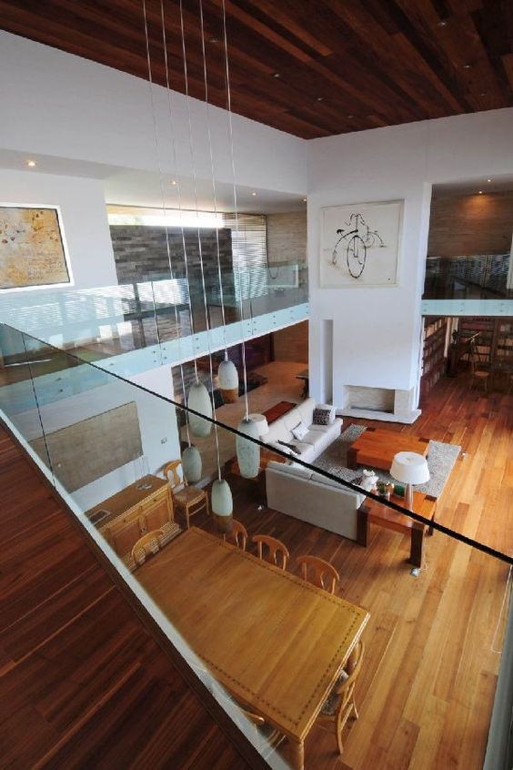 Open Plan With Mezzanine Mismatched Wooden Floors Hanging Lights House Ideas Pinterest Es Floorezzanine