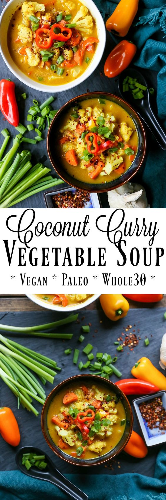 Coconut Curry Vegetable Soup - vegan, paleo, Whole30! This delicious soup comes together in only 30 minutes
