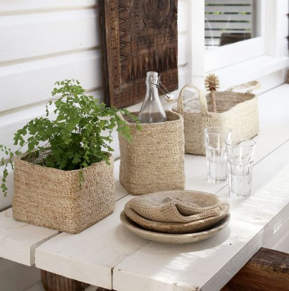 Trio of Jute Baskets Styled