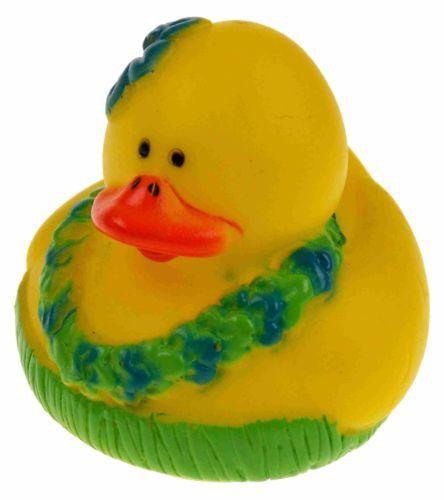 Set 12 Hawaiian Lei Grass Skirt Rubber Ducks Luau Party Favors Cake Topper Dozen