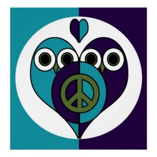 Peace Owls Poster