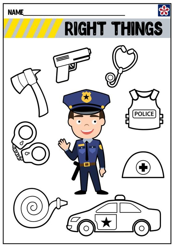 Community Helpers Worksheets: Police Officer   TeachersMag.com