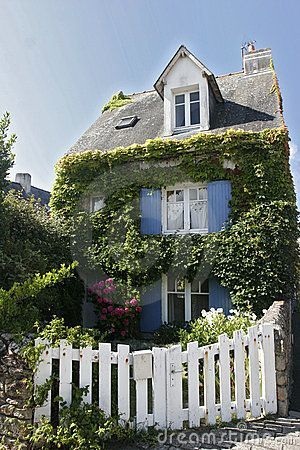 Blue shutters ivy and a white picket fence french house for French country beach house