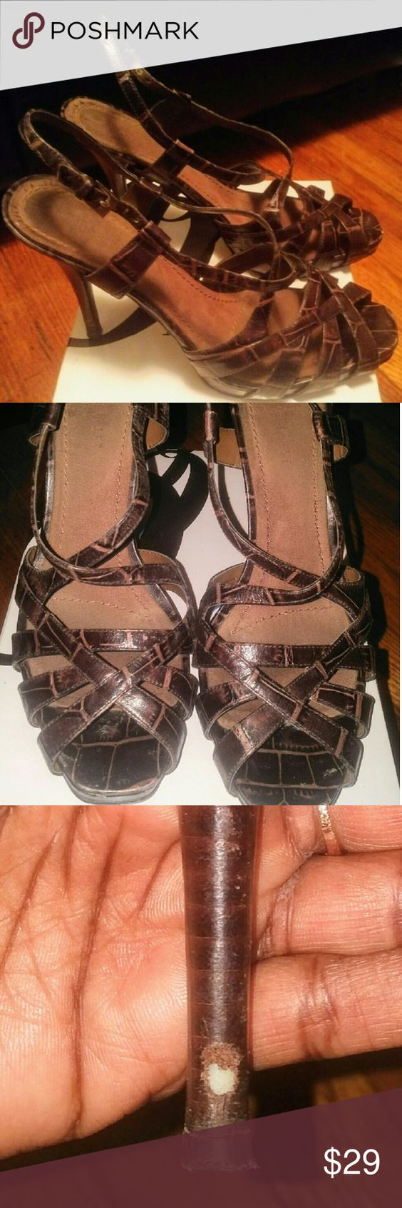 Faux Croc Platform Sandals Nine West faux croc platform sandals. Small scuff on back of left shoe. Detailed picture included. Reasonable offers considered Nine West Shoes Heels