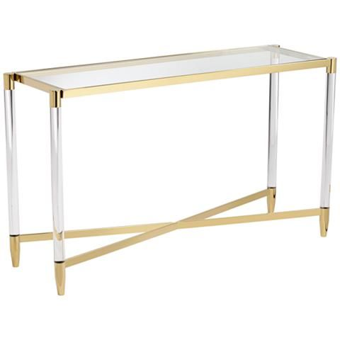 Stefania 50 Wide Gold And Acrylic Modern Console Table 55k06