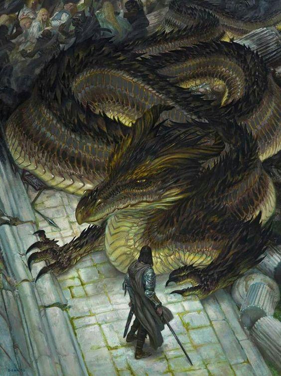 Glaurung y Túrin en Nargothrond, según el artista estadounidense Donato Giancola