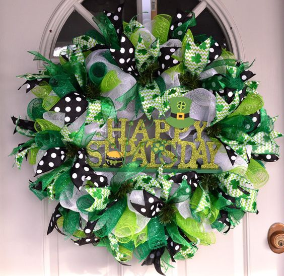 Happy St. Patrick's Day Wreath Deco Mesh by BlossomShopWreaths