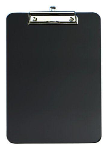 Klemmbrett A4, bruchsicherer Kunststoff mit abgerundeten Ecken, vernickelte Metallklemme und Aufhängeöse, schwarz Wedo http://www.amazon.de/dp/B000KJR88I/ref=cm_sw_r_pi_dp_dNXAub1X63Y14