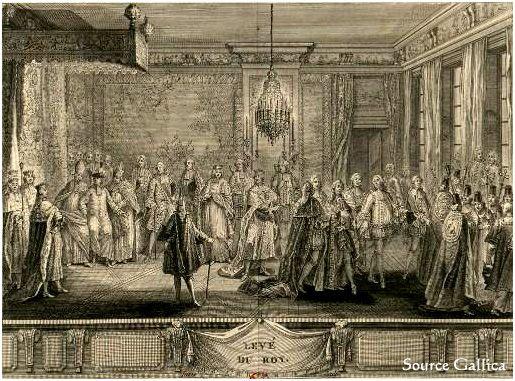 Ci-contre, en grande pompe, le lever du roi par Charles-Emmanuel Patas (1775).    Cour, Militaire