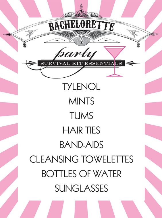 Possible pre-bachelorette party gift bags// instead of tums pedialyte packets?  instead of cleansing towels makeup remover?