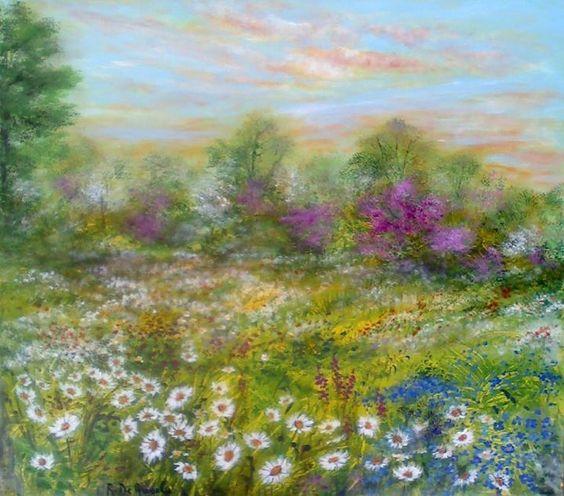 Paesaggio in fiore dipinto by Rosanna De Angelis acrilico su tela 60x60