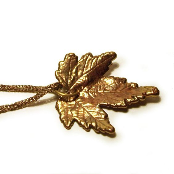 Gold Leaf Pendant Vintage Dipped Sycamore Autumn Leaves Rope Chain Necklace
